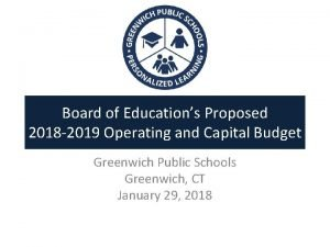 Board of Educations Proposed 2018 2019 Operating and