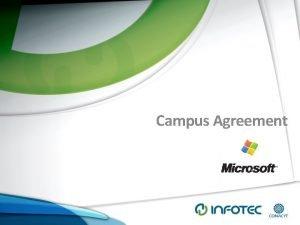 Campus Agreement Antecedentes Antecedentes INFOTEC cuenta con el