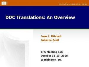 OCLC Online Computer Library Center DDC Translations An