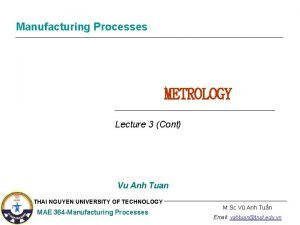 Manufacturing Processes METROLOGY Lecture 3 Cont Vu Anh