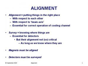 ALIGNMENT Alignment putting things in the right place