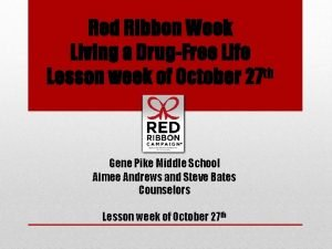 Red Ribbon Week Living a DrugFree Life Lesson