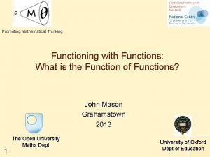 Promoting Mathematical Thinking Functioning with Functions What is