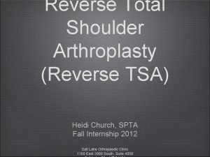 Reverse Total Shoulder Arthroplasty Reverse TSA Heidi Church