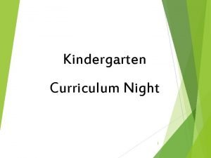 Kindergarten Curriculum Night 1 Kindergarten Team Tanya Dickson