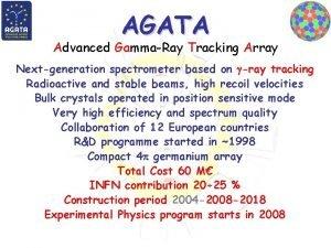 AGATA Advanced GammaRay Tracking Array Nextgeneration spectrometer based