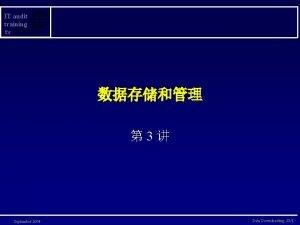 IT audit training for 3 September 2004 Data