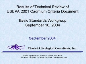 Results of Technical Review of USEPA 2001 Cadmium