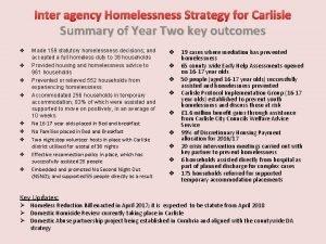 Inter agency Homelessness Strategy for Carlisle Summary of