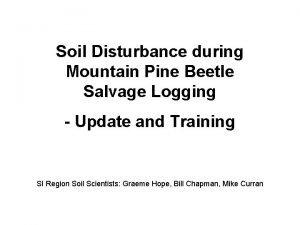 Soil Disturbance during Mountain Pine Beetle Salvage Logging