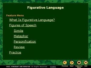 Figurative Language Feature Menu What Is Figurative Language