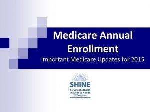 Medicare Annual Enrollment Important Medicare Updates for 2015