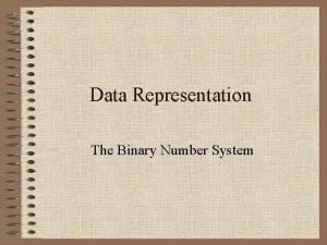 Data Representation The Binary Number System Binary The