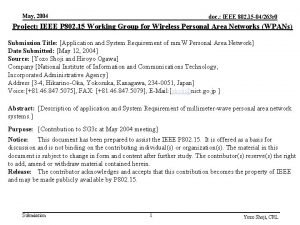 May 2004 doc IEEE 802 15 04263 r