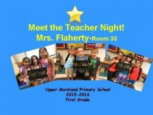 Meet the Teacher Night Mrs FlahertyRoom 33 Upper