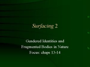 Surfacing 2 Gendered Identities and Fragmented Bodies in
