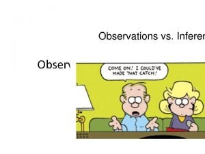Observation vs Inference What is an observation When
