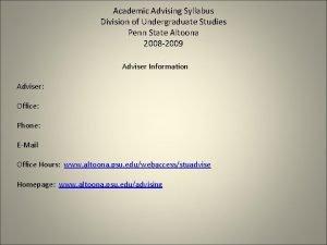 Academic Advising Syllabus Division of Undergraduate Studies Penn