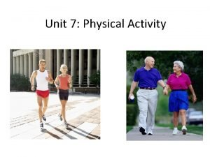 Unit 7 Physical Activity The Average Canadian Physical