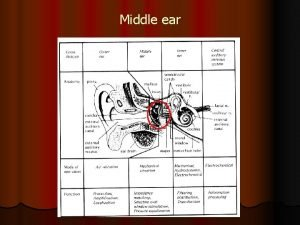 Middle ear Middle ear structures l Middle ear