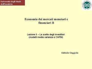 Universit degli Studi dellInsubria Economia dei mercati monetari