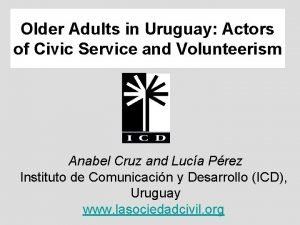 Older Adults in Uruguay Actors of Civic Service