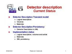Detector description Current Status Detector Description Transient model