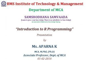 BMS Institute of Technology Management J Department of