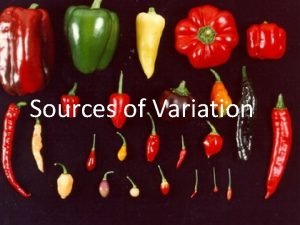 Sources of Variation What is variation Variation refers