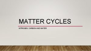 MATTER CYCLES NITROGEN CARBON AND WATER WATER CYCLE