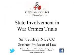 State Involvement in War Crimes Trials Sir Geoffrey