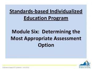 Standardsbased Individualized Education Program Module Six Determining the