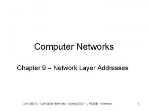 Computer Networks Chapter 9 Network Layer Addresses CEN