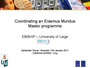 Coordinating an Erasmus Mundus Master programme EMSHIP University
