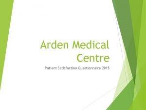 Arden Medical Centre Patient Satisfaction Questionnaire 2015 I