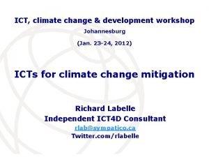 ICT climate change development workshop Johannesburg Jan 23