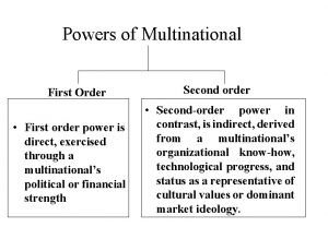 Powers of Multinational First Order First order power
