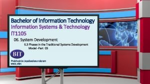 Bachelor of Information Technology Information Systems Technology IT