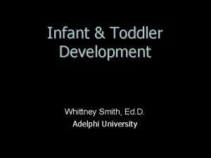 Infant Toddler Development Whittney Smith Ed D Adelphi