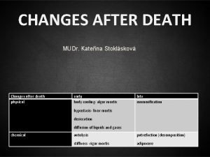 CHANGES AFTER DEATH MUDr Kateina Stoklskov Changes after