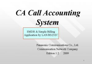 CA Call Accounting System SMDR Simple Billing Application