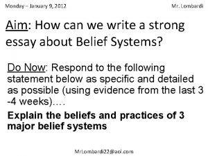 Monday January 9 2012 Mr Lombardi Aim How