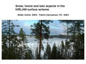 Snow forest and lake aspects in the HIRLAM