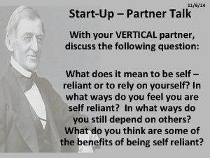 11614 StartUp Partner Talk With your VERTICAL partner