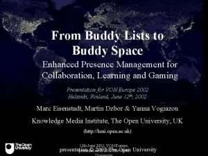 From Buddy Lists to Buddy Space Enhanced Presence