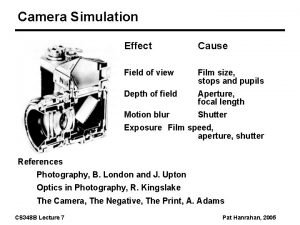 Camera Simulation Effect Cause Field of view Film