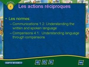 5 Les actions rciproques Les normes Communications 1