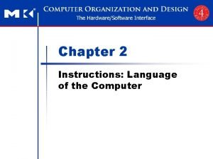 Chapter 2 Instructions Language of the Computer n