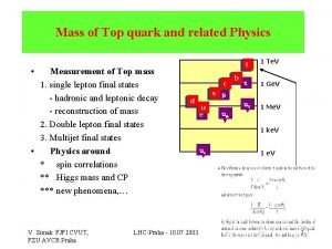 Mass of Top quark and related Physics ttt