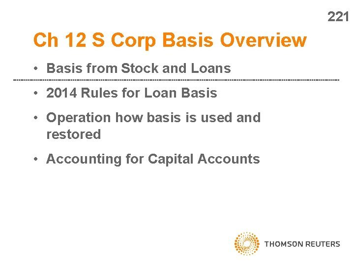 221 Ch 12 S Corp Basis Overview Basis